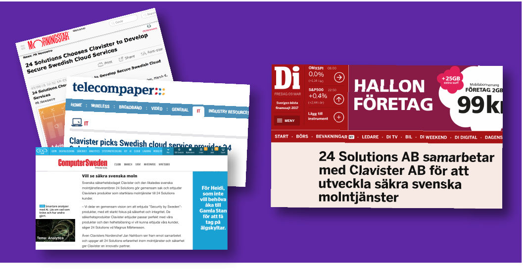 media coverage for partnership between 24 Solutions and Clavister